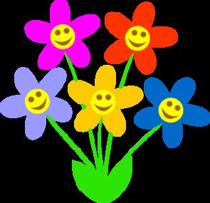 Smiley Flowers On Purple