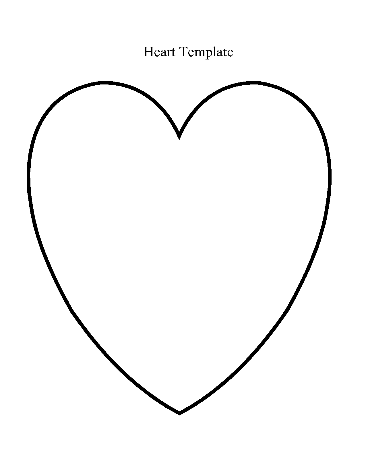 Line Drawing Heart Shape : Printable heart shape template clipart best