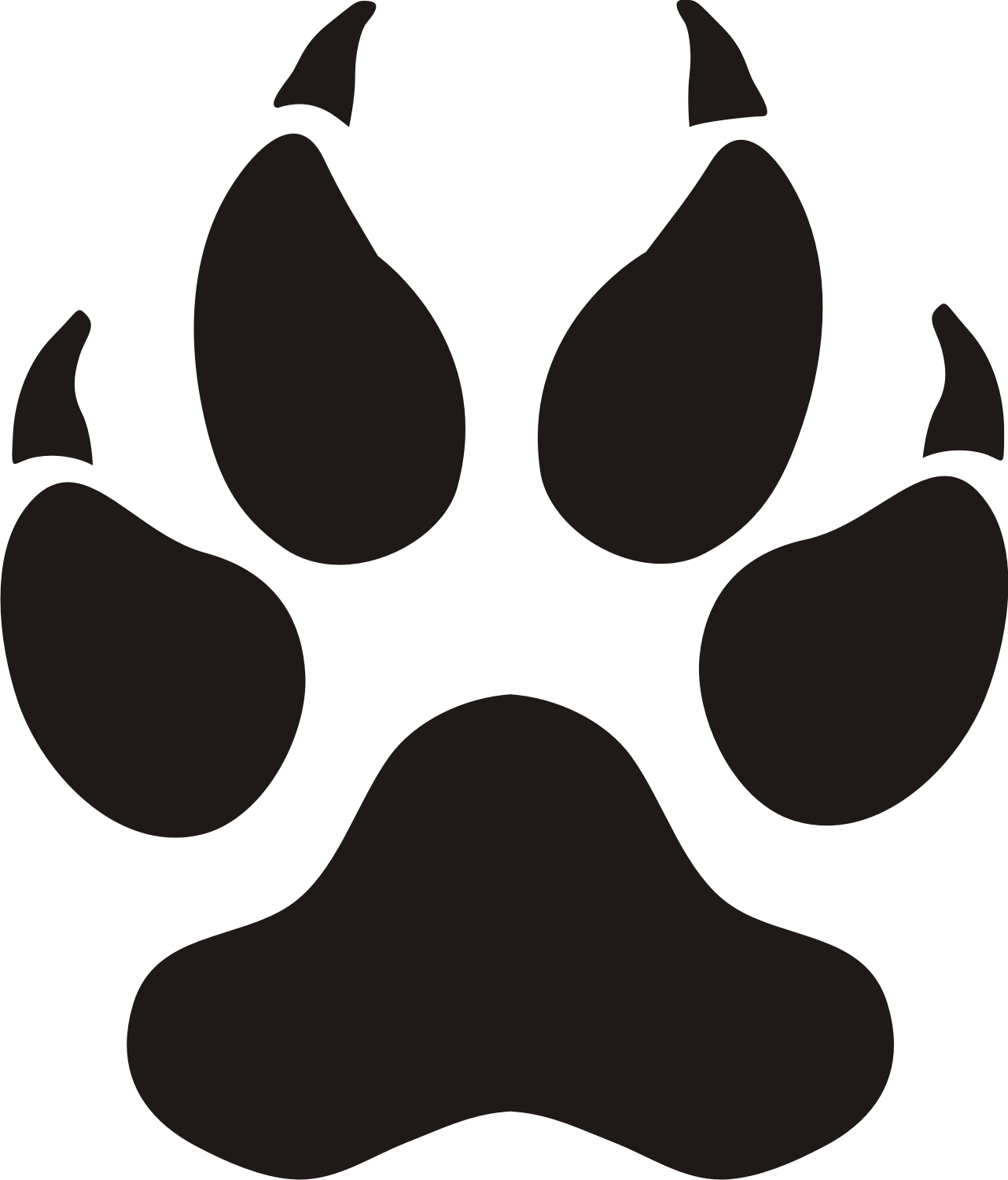 Paw print tattoos on dog paw prints scroll clipart 3 5 - Clipartix