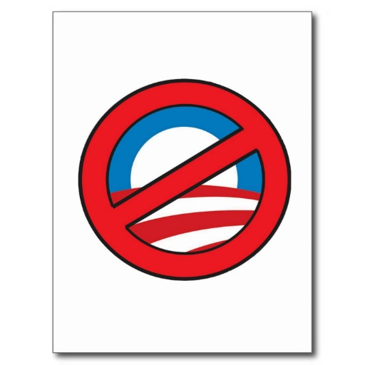 NO Obama circle/slash logo Post Card from Zazzle.