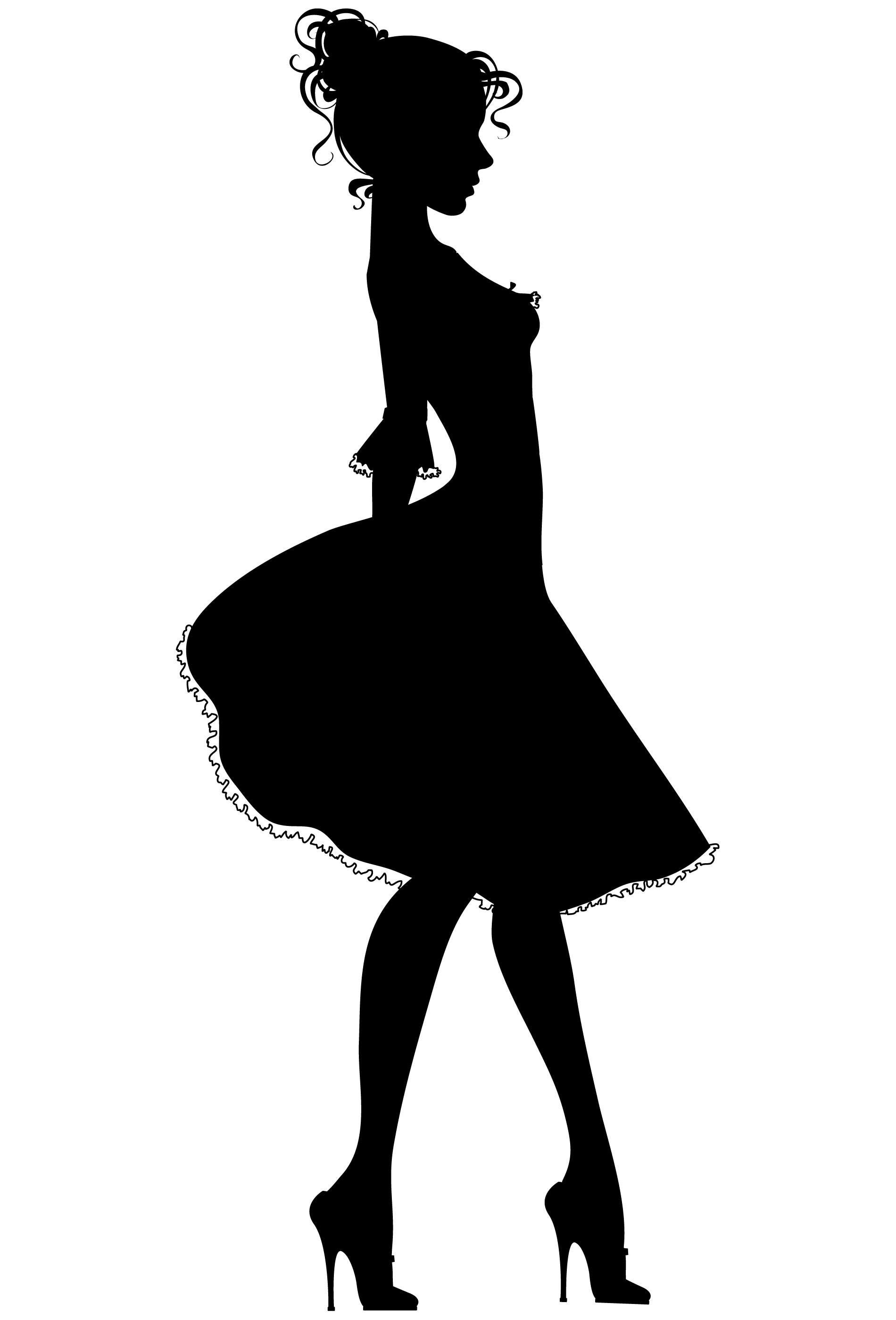 silhouette of a woman in a dress