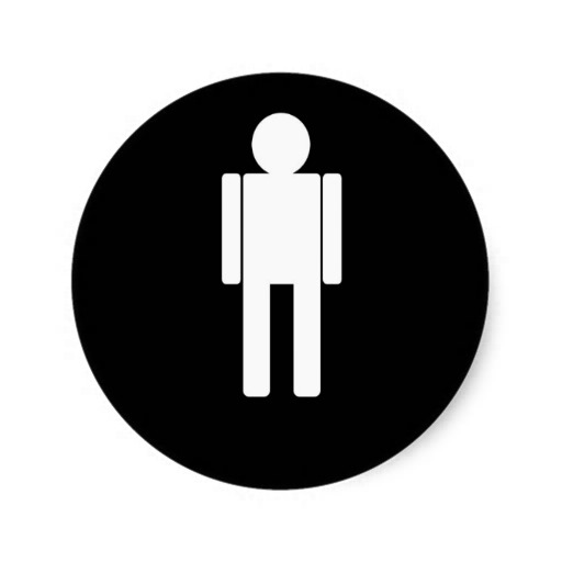 Man Illustration271 MAN CARTOON BATHROOM DOOR SIGN Round Stickers