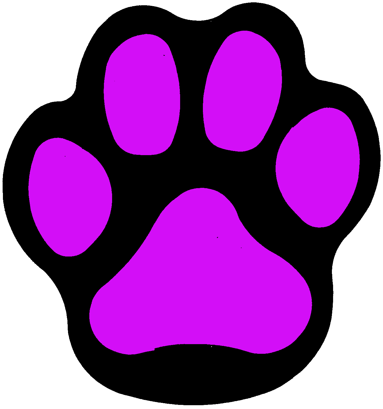 Purple panther paw clip art