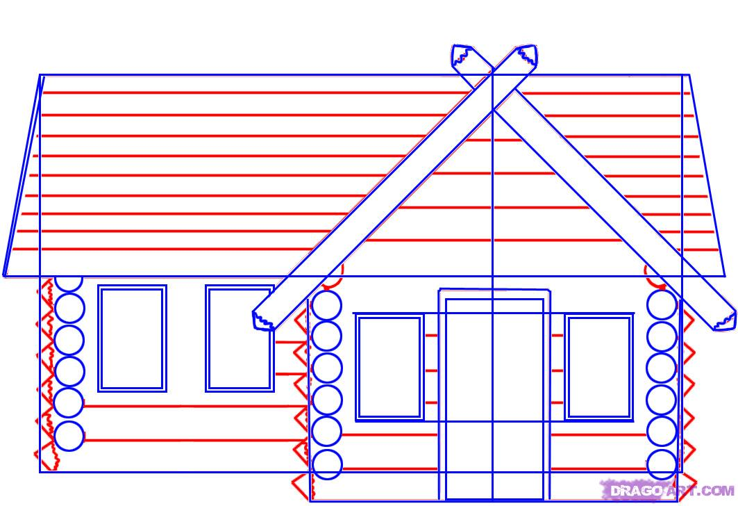 How to draw a log cabin house step by step buildings Step by step to build a house