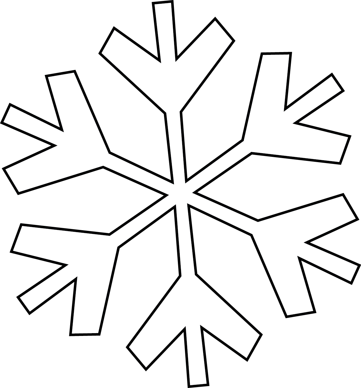 Simple Snowflake Line Art : Snowflake line drawing clipart best