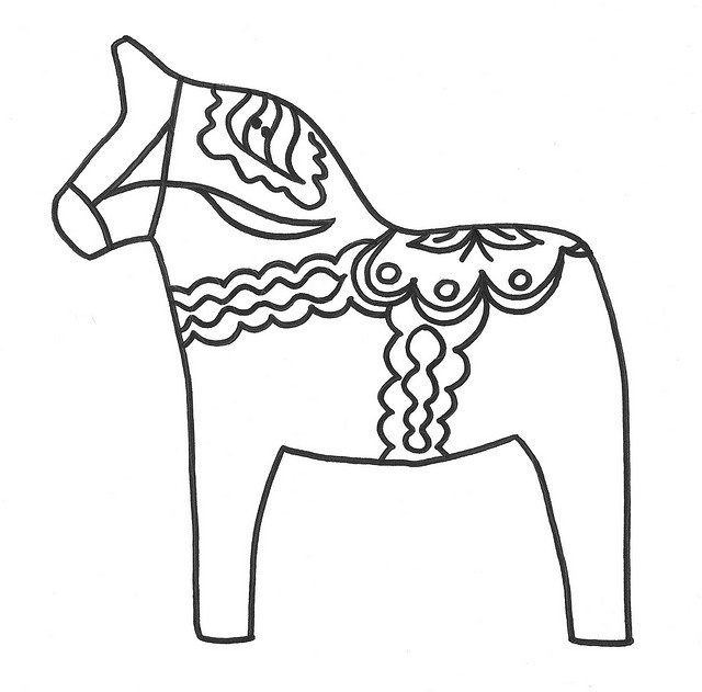 Outline Dala Horse