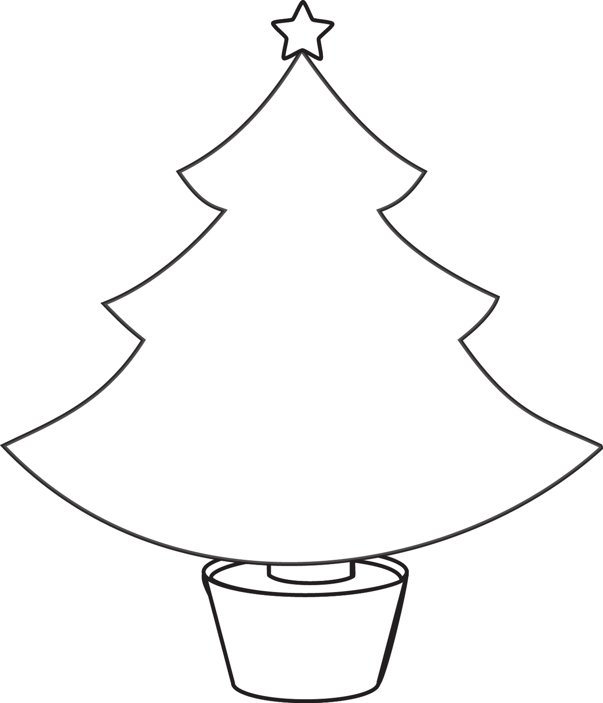 Christmas tree line drawing clipart best