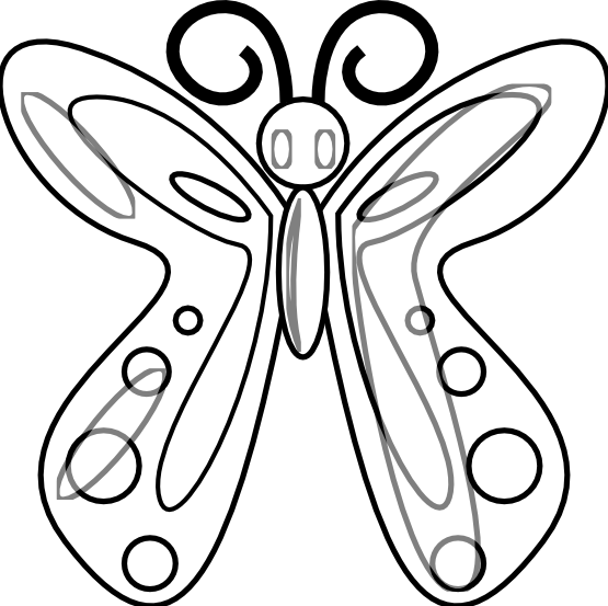 Butterfly 14 Black White Line Art Drawing Scalable Vector Graphics ...
