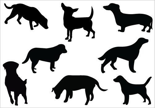 Black lab silhouette clip art pack