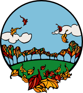 Fall Scene In A Circle clip art - vector clip art online, royalty ...