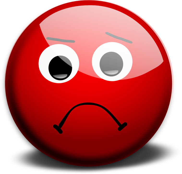 Sad face by morkaitehred - Red sad face representing a unsuccessful result of an action. Optimized for use on a web page.