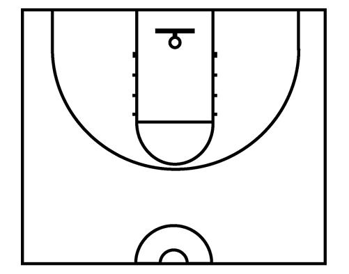 Basketball half court diagrams printable clipart best for Basketball court design template