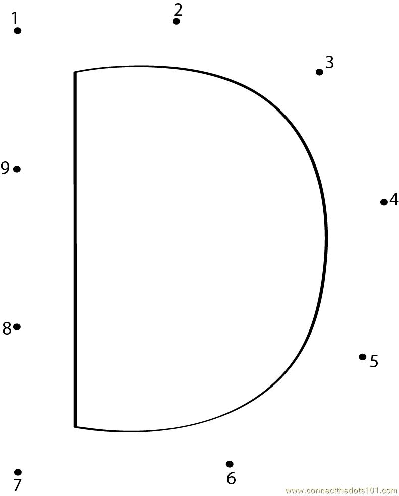 Connect the Dots Alphabet D (Education > Alphabets) - dot to dots ...