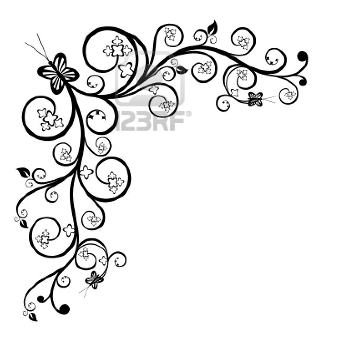 Elephant clipart corner borders black and white