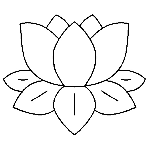 Water Lily Stencil Black And White: Lily Pad Line Drawing