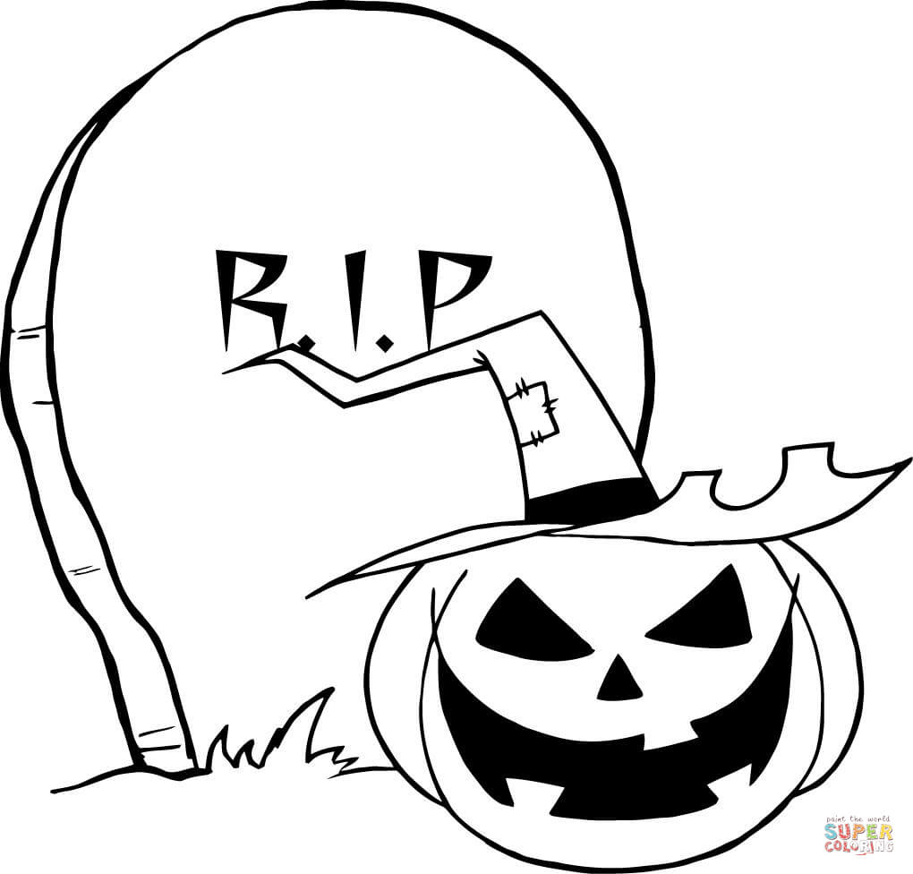 printable tombstone coloring pages | Halloween Tombstones Coloring Pages Sketch Coloring Page