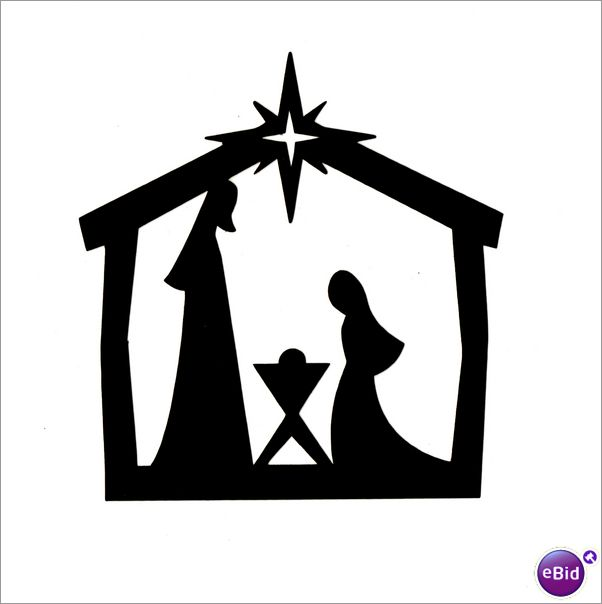 "10 x ""MANGER"" SILHOUETTE CHRISTMAS DIE CUTS IN BLACK on eBid ..."