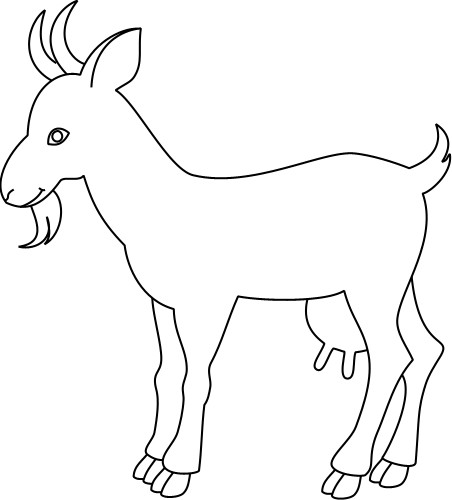 Line Drawings Of Farm Animals : Outline drawing of a goat clipart best
