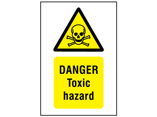 Danger toxic hazard symbol and text safety sign. | WS1610 ...