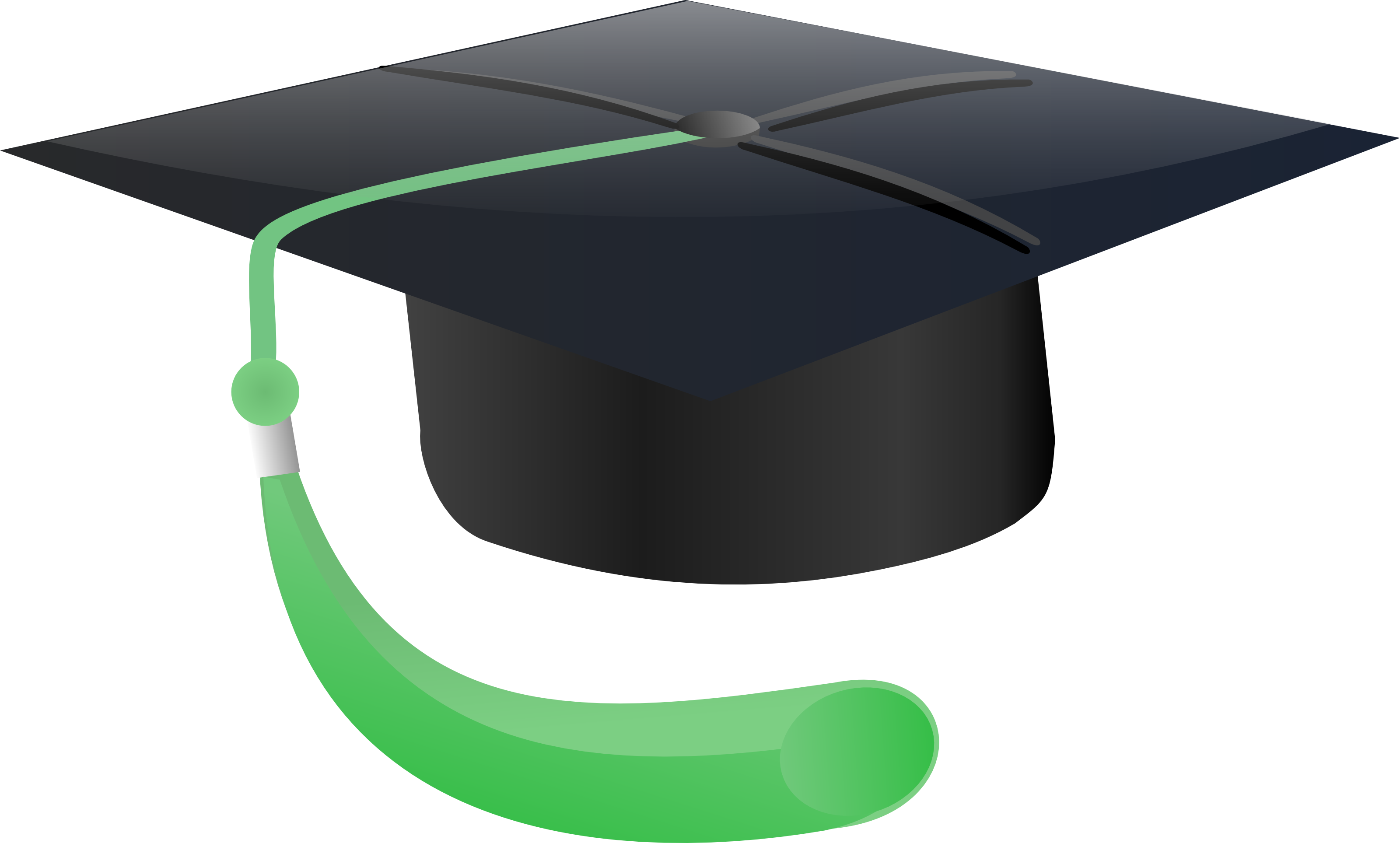 Free Graduation Cap With Green Tassle Clipart Illustration
