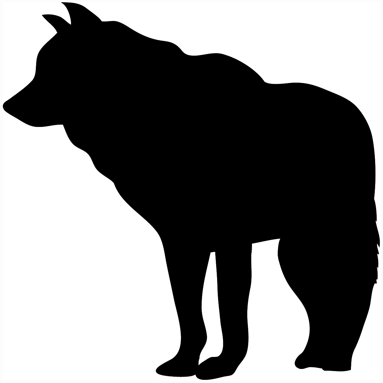 Howling wolf silhouette sitting