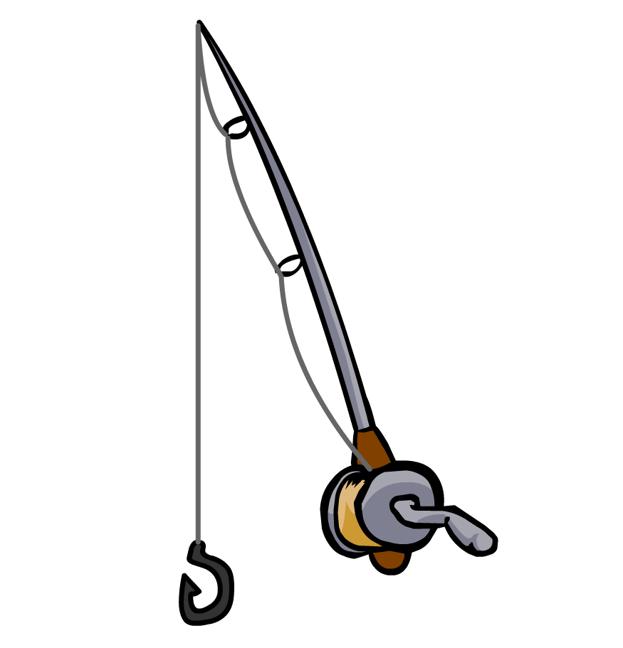 Fishing pole with fish clipart
