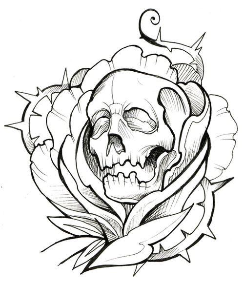 Outline Outline Evil Skulls Tattoo Dagger Skulls Flowers