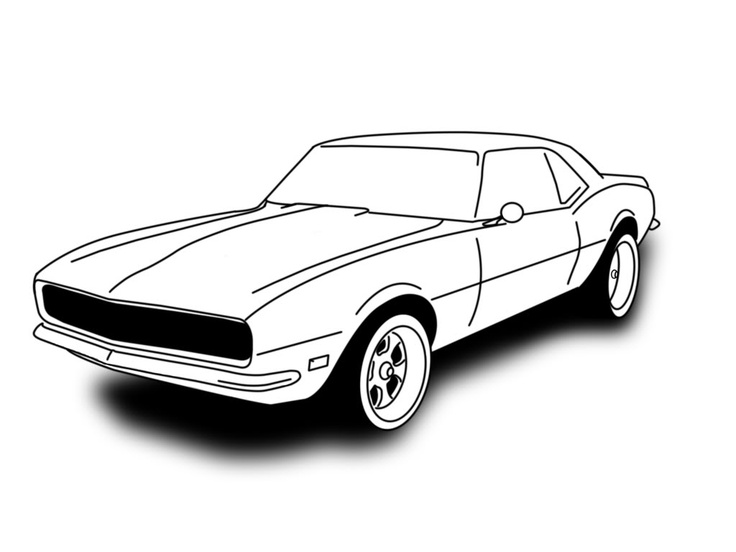Muscle car drawing outline 6