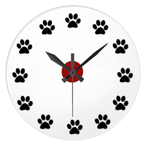 Dog or Cat paw Print Clocks from Zazzle.