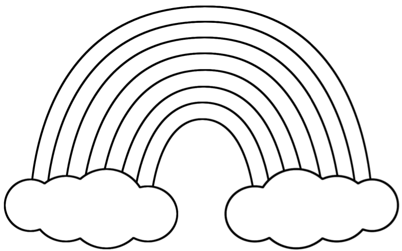 rainbow in clouds coloring pages x - Coloring Page Rainbow Clouds