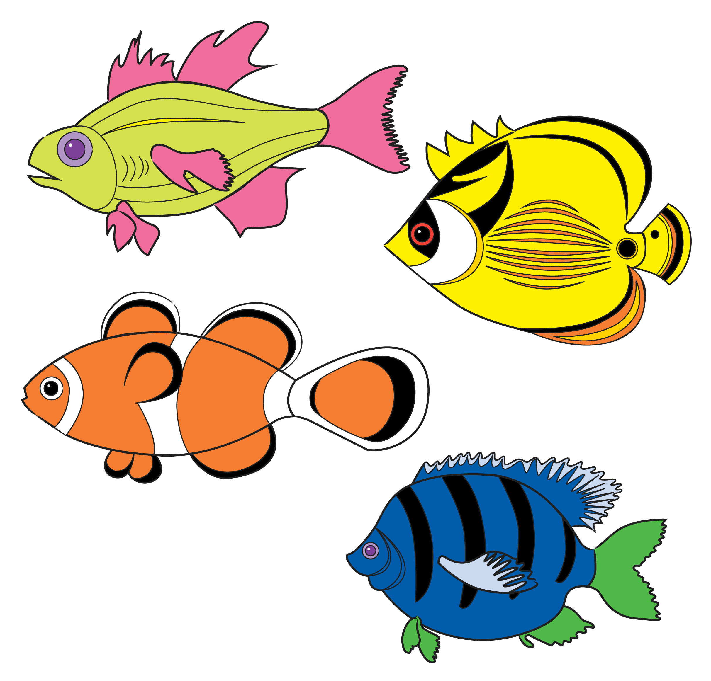Tropical fish drawings clipart best for Fish clipart images