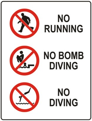 No Running Sign In Water Do Not Run Safety Sign...
