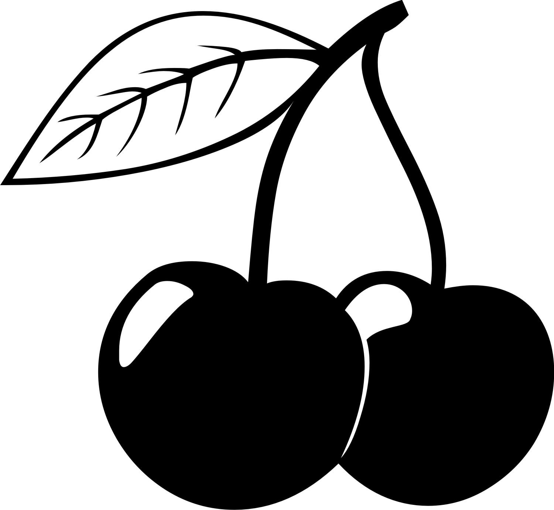 Чёрно белый рисунок вишни