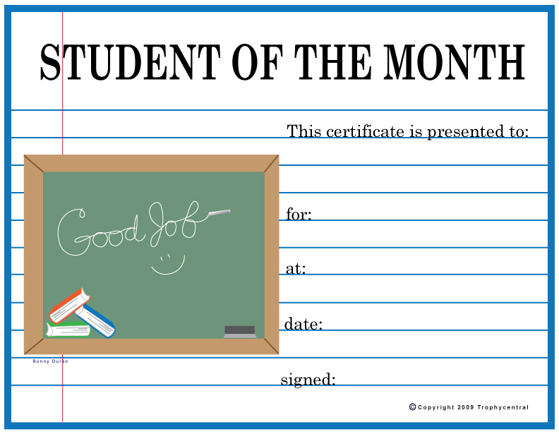 Free Student Of The Month Certificates, Certificate Free Student ...