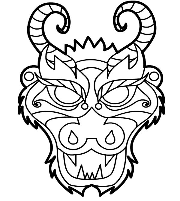 chinese dragon mask coloring pages printable
