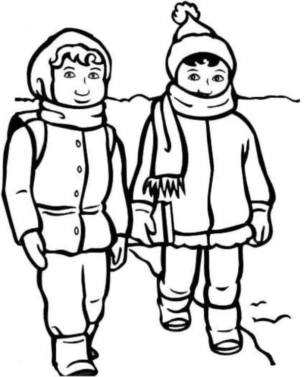 Coloring Pages Clothing: WINTER CLOTHES LINE DRAW
