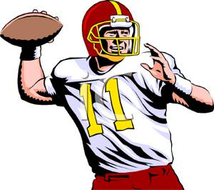 Realistic Style Quarterback Throwing the Football - Clipart