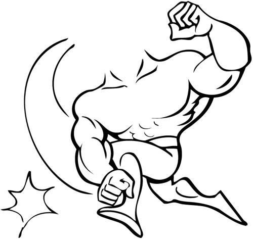 muscle man coloring pages - photo#9