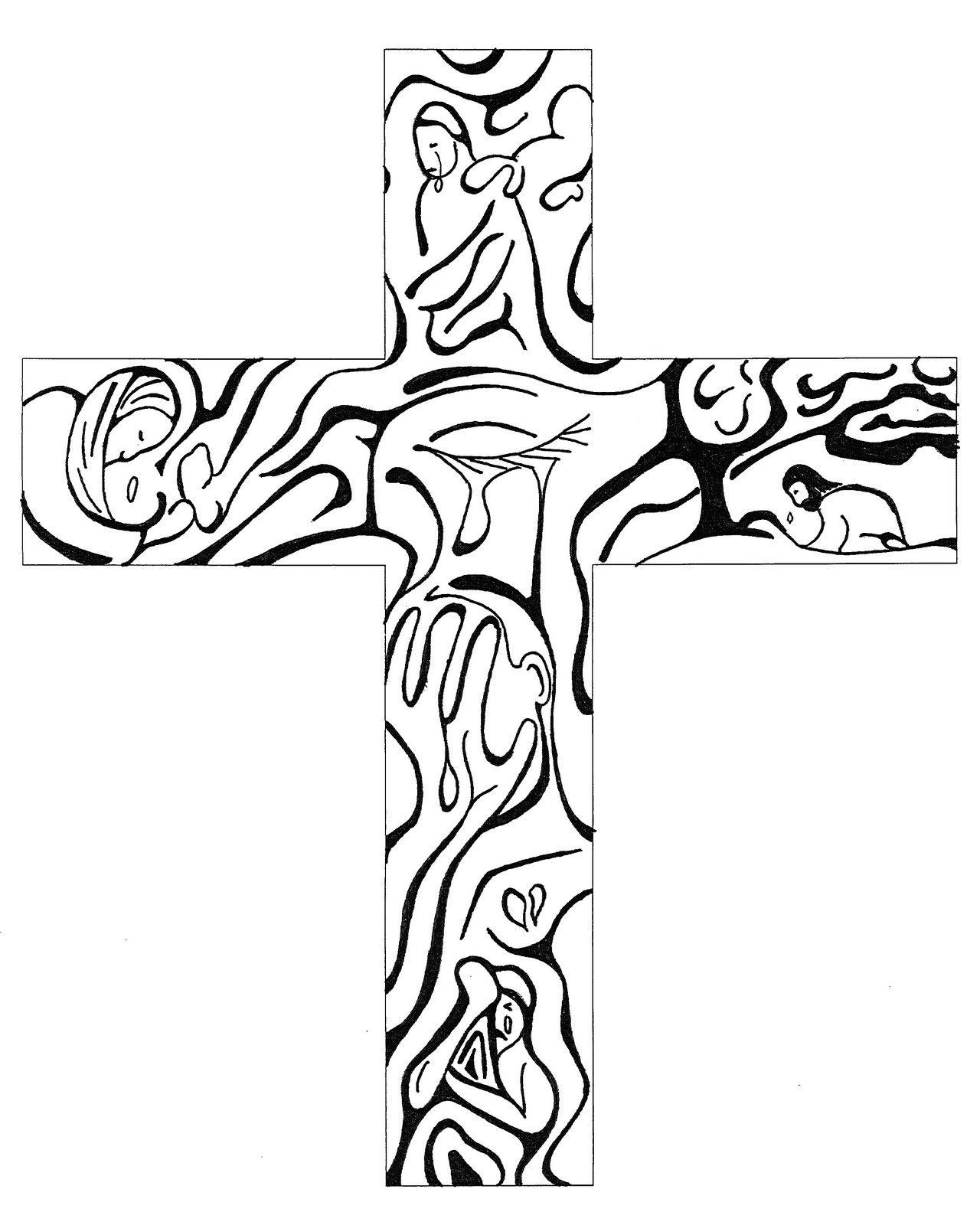 Line Drawing Easter : Cross line art clipart best
