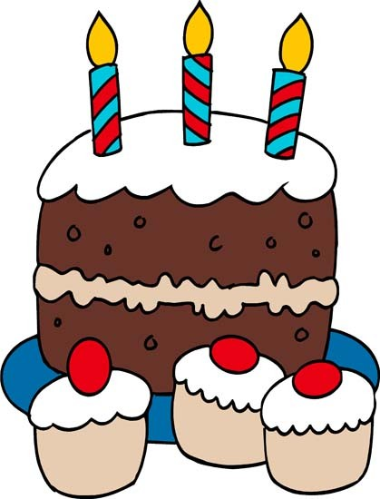 Funny birthday cake on a table clipart