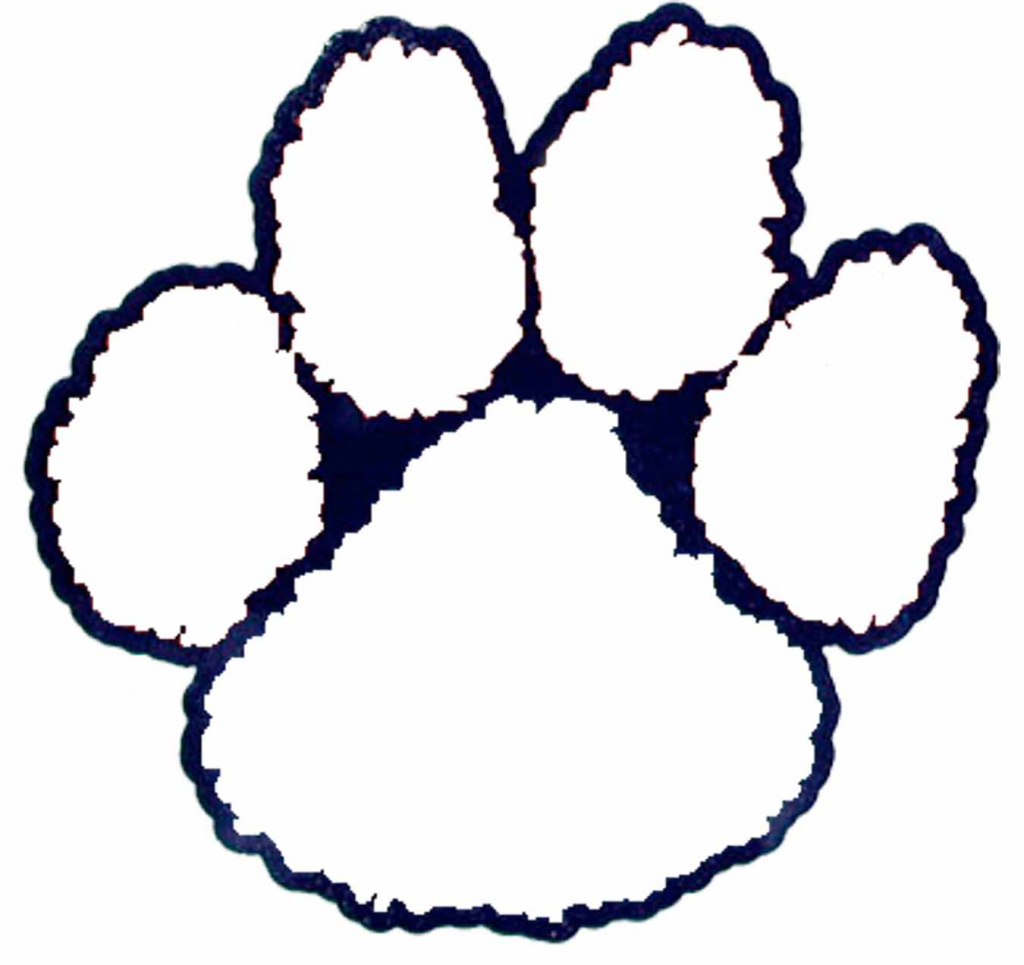 Paw print coloring page clipart best for Tiger paw coloring page