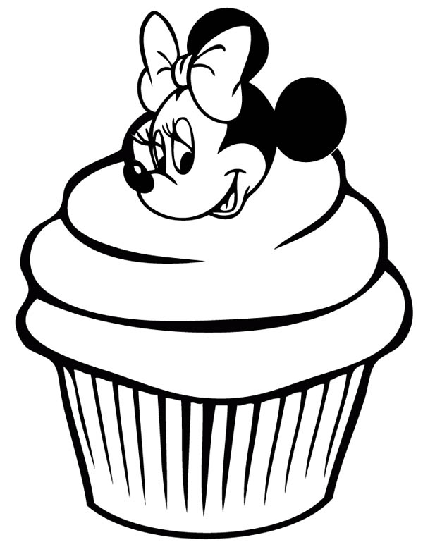 Mickey Mouse Face Coloring Page Cupcake Line Drawing C...