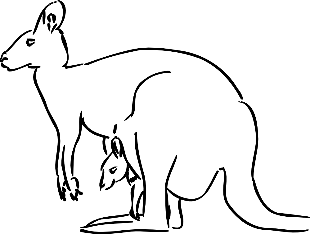 Line Drawing Kangaroo : Kangaroo black white line art tatoo tattoo svg clipart