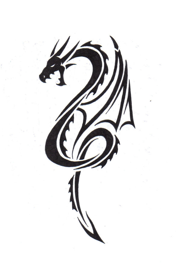 Line Drawing Dragon Tattoo : Simple tribal dragon tattoo clipart best