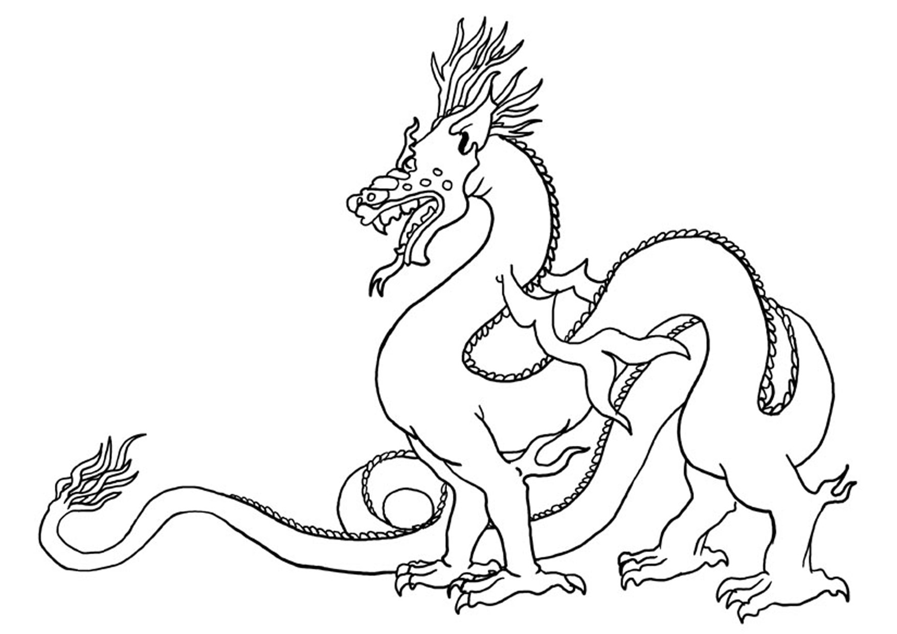 Easy Dragon Drawings Black And White - ClipArt Best