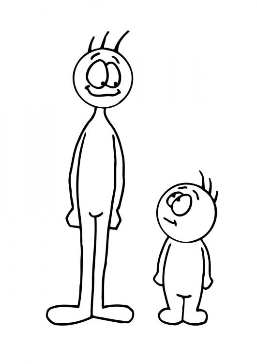 short a coloring page - short tall fat thin coloring pages