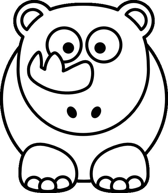 Clip Art: Rhino Black White Line Art Christmas ... - ClipArt Best ...