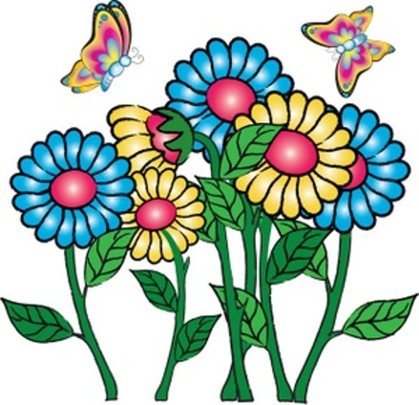 Flowers butterflies may clipart
