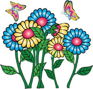 Flowers Clipart Image - Pretty Cartoon Flowers with Butterflies ...