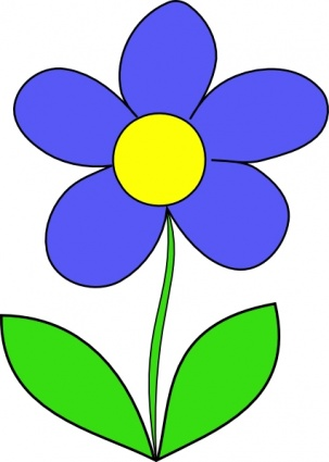 Green Blue Simple Outline Yellow Drawing Flower Flowers Cartoon ...